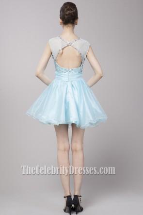 Cute Light Sky Blue Beaded Party Homecoming Dresses