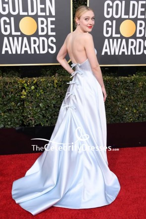 Dakota Fanning Silver Strapless Ball Gown 2019 Golden Globe Awards Red Carpet TCD8241