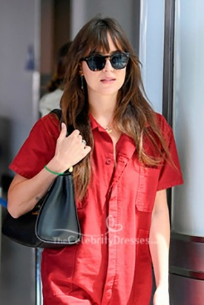 Dakota Johnson Red Working Style Jumpsuit with Pockets