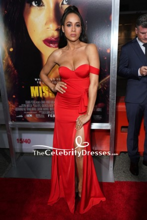Dania Ramirez Red Off Shoulder Thigh-high Slit Evening Dress Premiere of 'Miss Bala'