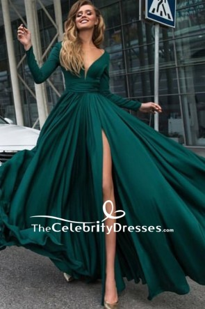 Dark Green V-neck Thigh-high Slit Prom Dress With Long Sleeve
