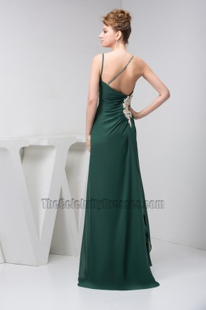 Dark Green Spaghetti Straps Prom Bridesmaid Dresses