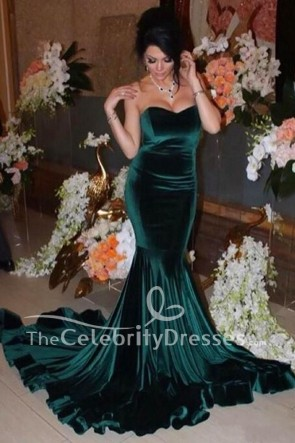 Dark Green Velvet Mermaid Sweetheart Evening Formal Dress Military Gowns