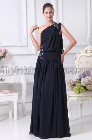Dark Navy One Shoulder Prom Gown Evening Dresses