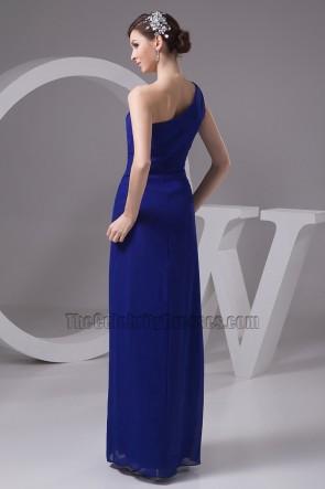 Dark Royal Blue One Shoulder Bridesmaid Dresses Prom Gowns