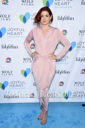 Debra Messing Pink Jersey Long Sleeves Wrap Dress Joyful Revolution Gala