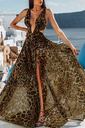 Deep V Leopard Print Dress