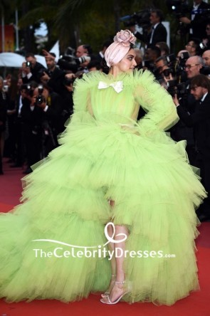 Deepika Padukone Lime Green Tulle Princess Ball Gown With Long Sleeves 2019 Cannes Film Festival