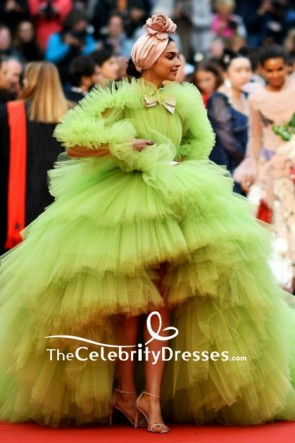 Deepika Padukone Lime Green Princess Ball Gown With Sleeves 2019 Cannes Film Festival TCD8502