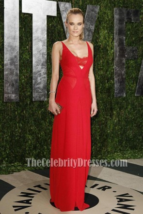 Diane Kruger Red Prom Dress 2012 Vanity Fair Oscar Party Dresses
