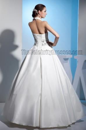 Discount Floor Length A-Line Halter Beaded Wedding Dresses