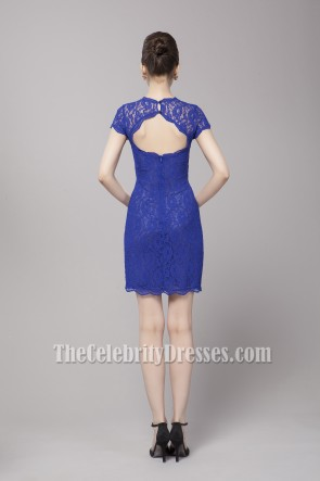 Discount Royal Blue Lace Cut Out Party Homecoming Dresses