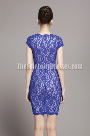 Discount Royal Blue Lace Short Party Cocktail Dress