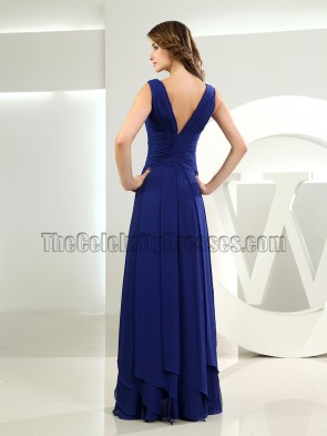 Discount Royal Blue Chiffon V-neck Prom Dress Evening Gown