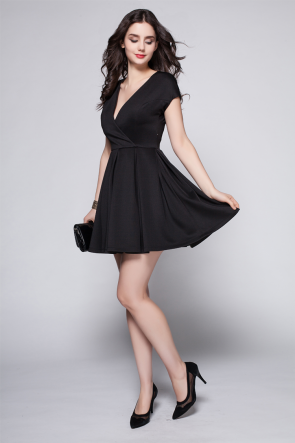 Discount Short Mini Black V-Neck Party Cocktail Dress