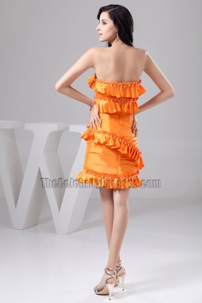 Discount Short Orange Strapless Homecoming Party Cocktail Dresses