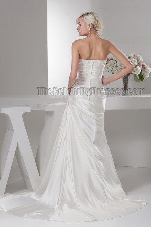 Discount Strapless Beaded Silk Like Satin Wedding Dress
