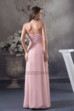 Discount Strapless Sweetheart Chiffon Bridesmaid Prom Dresses
