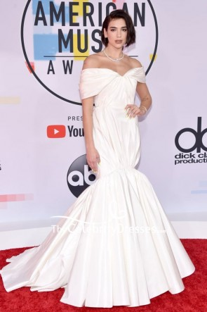 Dua Lipa Ivory Off-the-shoulder Mermaid Formal Dress 2018 American Music Awards