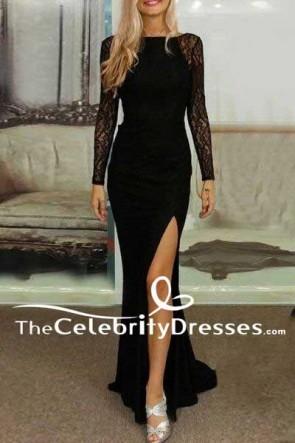 Elegant Black Lace Side Slit Long Sleeves Formal Dress Evening Gown TCDFD7523