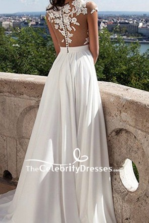 Elegant Ivory Cap Sleeves Wedding Dress Thigh-high Slit Gown TCDFD7783