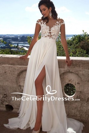 Elegant Ivory Cap Sleeves Wedding Dress Thigh-high Slit Gown