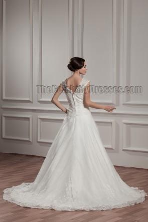 Elegant A-Line V-Neck Embroidered Chapel Train Wedding Dresses