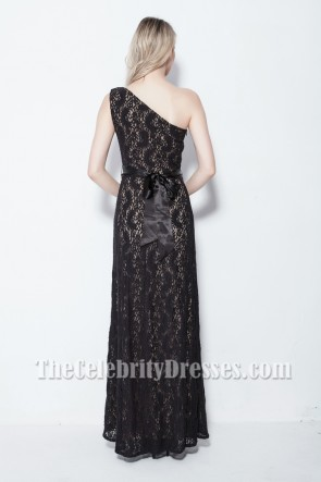 Elegant Black One Shoulder Lace Evening Formal Dresses TCDB105