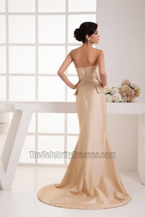 Elegant Champagne Strapless Taffeta Formal Dress Prom Gown