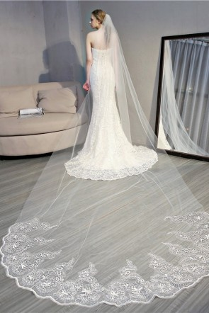 Elegant Edge Cathedral Bridal Veils With Lace