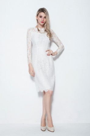 Elegant Long Sleeve Lace Knee Length Cocktail Party Dresses TCDBF005