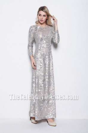 Elegant Long Sleeve Sequined Formal Dress Evening Gowns