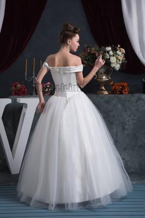 Elegant Off-The-Shoulder Floor Length Beaded Wedding Dresses