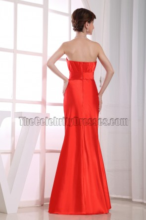 Elegant Orange Red Strapless Bridesmaid Prom Dresses