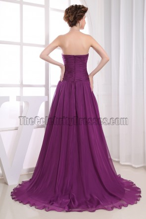 Elegant Purple Strapless A-Line Formal Gowns Prom Dresses
