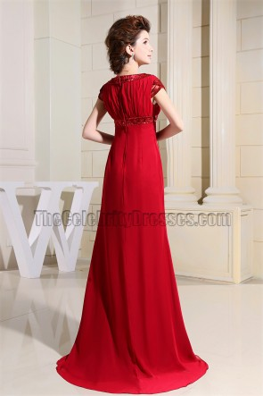 Elegant Red Cap Sleeves Formal Dress Evening Gowns