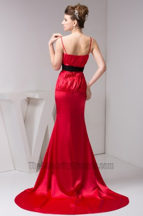 Elegant Red Spaghetti Straps Formal Dress Prom Gown With Black Belt