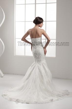 Elegant Strapless Mermaid Lace Up Beaded Wedding Dresses