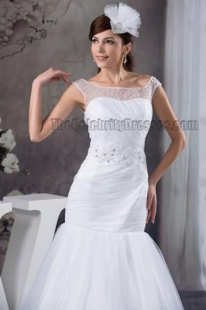 Elegant Trumpet /Mermaid Beaded Chapel Train Wedding Dress