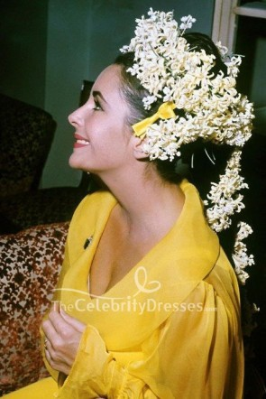 Elizabeth Taylor Yellow Long Sleeves Wedding Baby-doll Dress  TCD8636