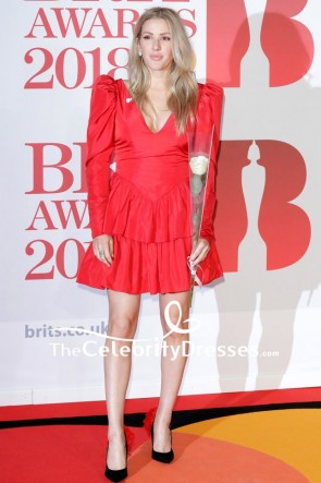 Ellie Goulding Red Cocktail Dress With Long Sleeves 2018 Brit Awards Red Carpet
