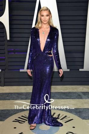 Elsa Hosk Royal Blue Deep V-neck Cutout Evening Dress 2019 Vanity Fair Oscar party