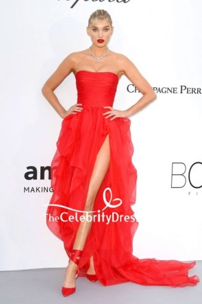 Elsa Hosk Strapless Thigh-high Slit High Low Red Dress 2018 Cannes