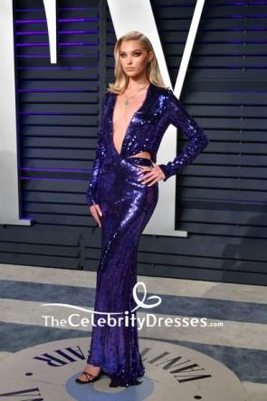 Elsa Hosk Royal Blue Deep V-neck Cutout Evening Dress 2019 Vanity Fair Oscar party TCD8333