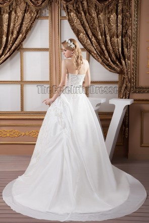 Embroidered Strapless A-Line Chapel Train Wedding Dresses