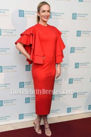 エミリーブラントレッドフリル袖スクープネックパーティーイブニングドレス2017自由に声を変える人生を祝うガラ