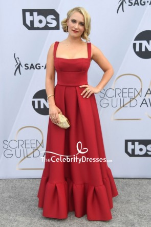 Emily Osment Red Square Neckline Ruffled Formal Dress SAG Awards 2019