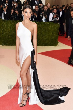 Emily Ratajkowski Black And White One-shoulder Thigh-high Slit Evening Dress 2016 Met Gala
