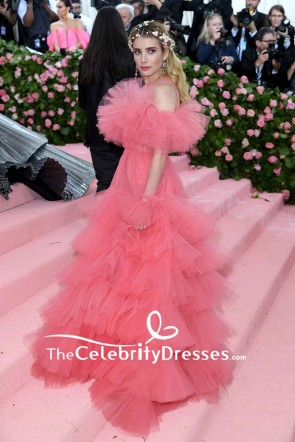 Emma Roberts Long Sleeves Ruffled Princess Ball Gown Evening Dress Met Gala 2019 TCD8403