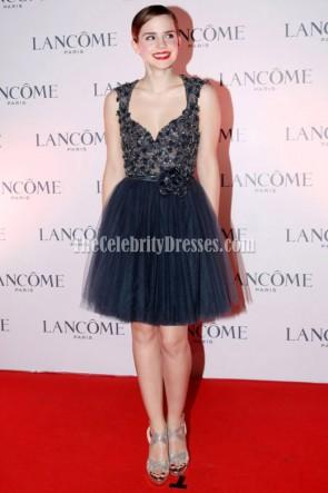 Emma Watson Navy Blue Short Cocktail Dress Lancome Dinner Celebrity Party Dresses